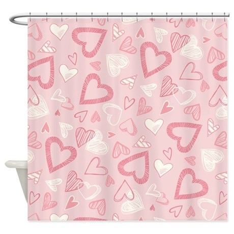 pink hearts pattern shower curtain