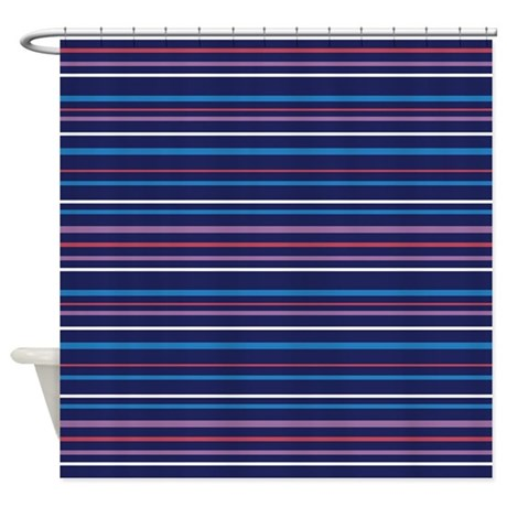 dark navy blue shower curtain with stripes