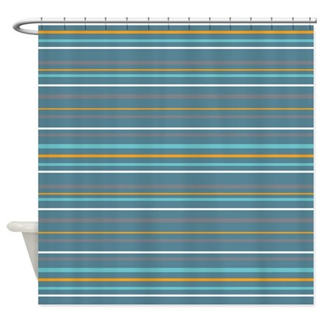 blue stripey pattern shower curtain