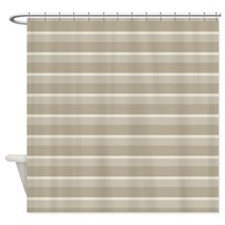 Stripes Horizontal Power Taupe Shower Curtain