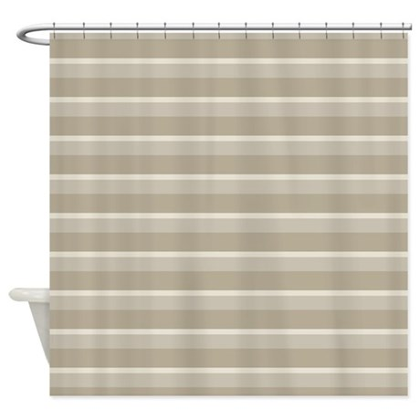 Stripes Horizontal Power Taupe Shower Curtain By Admin