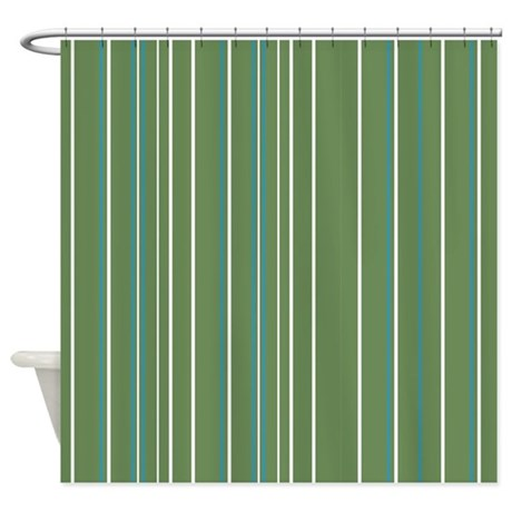 green vertical stripe shower curtain