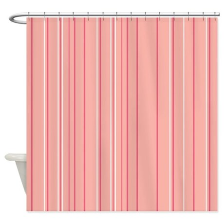 pink stripe shower curtain