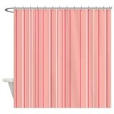 Peach stripes Shower Curtains