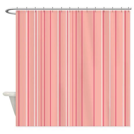 Stripes multi peach shower curtain by admin cp45405617 for Peach bathroom decor