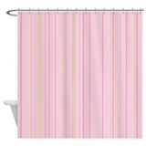 Pink vertical stripe shower curtain