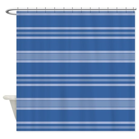 bold blue horizontal stripes shower curtain