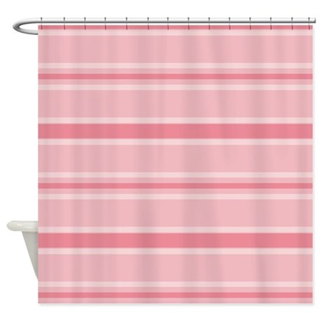pretty pink stripes shower curtain