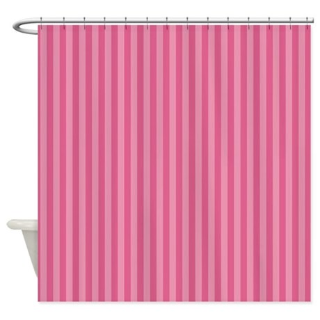 striped pink shower curtain
