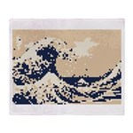 Pixel Tsunami Great Wave 8 Bit Art Throw Blanket