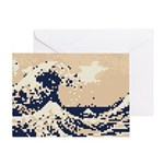 Pixel Tsunami Great Wave 8 Bit Art Greeting Card