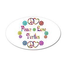 Peace Love Turtles 38.5 x 24.5 Oval Wall Peel