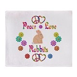 Peace Love Rabbits Throw Blanket