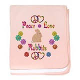Peace Love Rabbits baby blanket