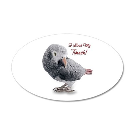 African Grey Parrot Holiday 38.5 x 24.5 Oval Wall