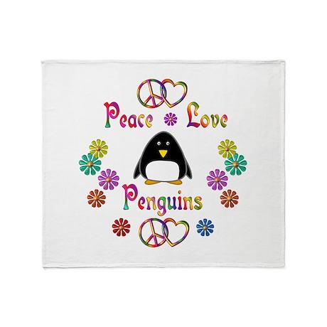 Peace Love Penguins Throw Blanket