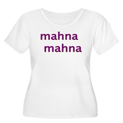MahnaMahna Women's Plus Size Scoop Neck T-Shirt