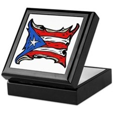 Puerto Rico Heat Flag Keepsake Box