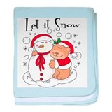 Let It Snow Bear & Snowman baby blanket