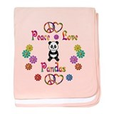 Peace Love Pandas baby blanket