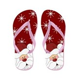 Santa Claus Christmas Holiday Flip Flops (Red)