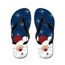 Santa Claus Holiday Christmas Flip Flops (Navy)
