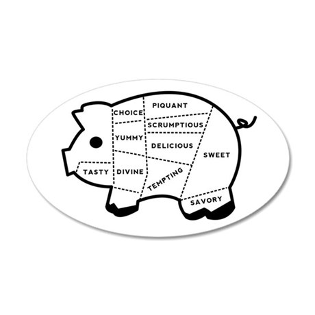 Pig Eater's Chart 38.5 x 24.5 Oval Wall Peel