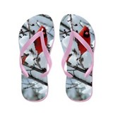 Snow Cardinal Flip Flops