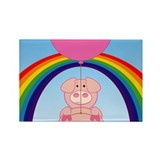 Flying Pig Rainbow Rectangle Magnet