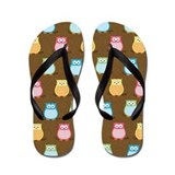 Cute Colorful Owl Flip Flops - Brown