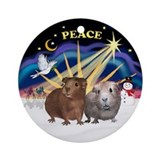 Xmas Sunrise - Two Guinea Pigs Ornament (Round)