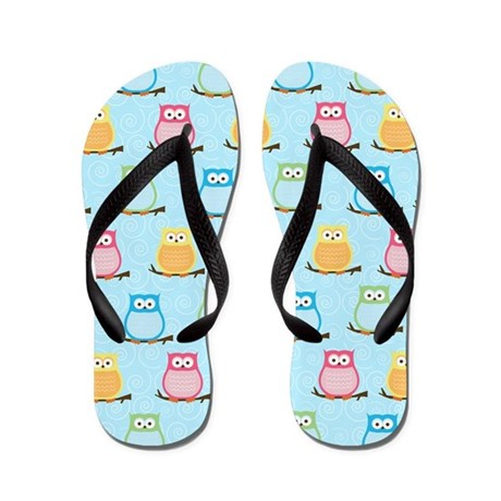 Cute Colorful Owl Flip Flops - Light Blue