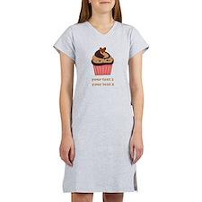 PERSONALIZE Chocolate Cupcake Women's Nightshirt