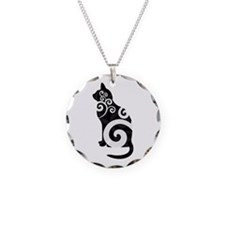 Swirly Cat Black Necklace