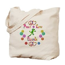 Peace Love Lizards Tote Bag