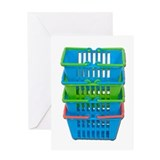 Stack of Shopping Baskets Greeting Card