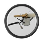 Straight Razor Mug Brush Large Wall Clock