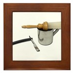 Straight Razor Mug Brush Framed Tile