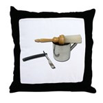 Straight Razor Mug Brush Throw Pillow