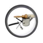 Straight Razor Mug Brush Wall Clock