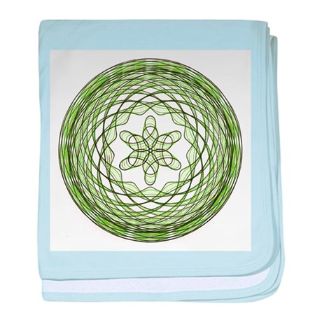 Green Spirograph Starbasket baby blanket