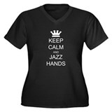 Keep Calm Jazz Hands Women's Plus Size V-Neck Dark