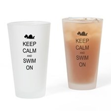 Keep Calm and Swim On Sea Monster Drinking Glass