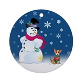 Snowman and Chihuahua dog Ornament (Round)