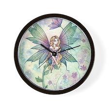 Mystic Garden Flower Fairy Art Wall Clock