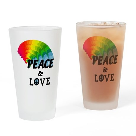 Rainbow Peace and Love Drinking Glass