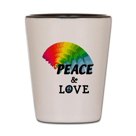 Rainbow Peace and Love Shot Glass