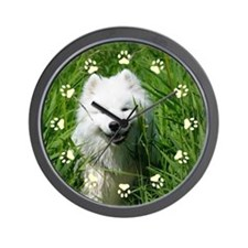 Samoyed In Grass Paw Print Wall Clock