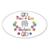 Peace Love Elephants Decal