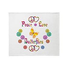 Peace Love Butterflies Throw Blanket